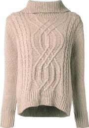 Cable Knit Turtleneck Jumper Women Acrylic 34, Brown