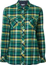 Classic Plaid Shirt Women Cotton 36, Green