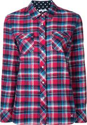 Classic Plaid Shirt Women Cotton 36, Red