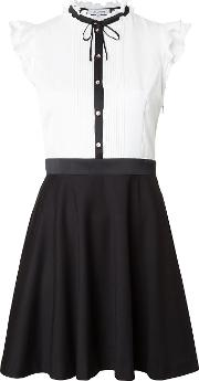 Contrast Flared Dress Women Polyester