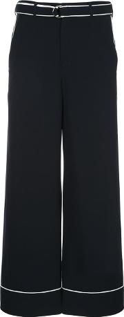 Contrast Piping Flared Trousers