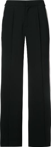 Flared Sports Stripe Trousers Women Polyester 36, Black