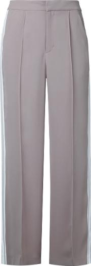 Flared Sports Stripe Trousers Women Polyester 36, Brown