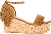 Fringed Wedge Sandals Women Polyester 23.5, Brown