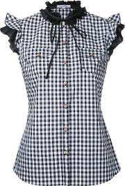 Gingham Frilled Sleeveless Shirt Women Cotton 36, Black