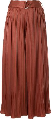 Guild Prime Belted Pleated Palazzo Trousers Women Polyesterpolyurethane 34, Red