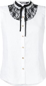 Lace Bib Sleeveless Shirt Women Polyester 34, White