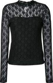 Lace Insert Blouse Women Nylonpolyester 36, Women's, Black