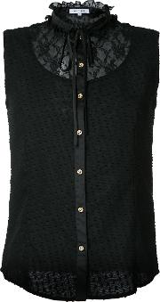Lace Panel Sleeveless Shirt Women Polyester 36, Black