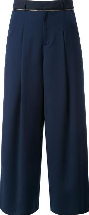 Pleated Palazzo Pants Women Polyester 36, Women's, Blue