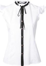 Pussy Bow Sleeveless Shirt Women Cotton 34, White