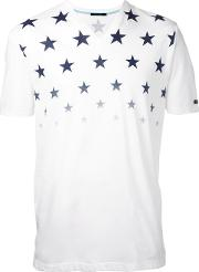Stars Print T Shirt Men Cotton 2, White
