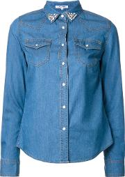 Stoned Collar Denim Shirt Women Cottonnyloncupro 34, Blue