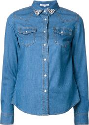 Stoned Collar Denim Shirt Women Cottonnyloncupro 34, Women's, Blue