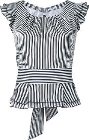 Striped Frilled Cap Sleeve Blouse Women Polyester 36, White