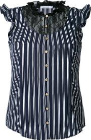 Striped Lace Bib Sleeveless Shirt Women Polyester 34, Blue