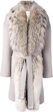 Fox Fur Collar Belted Coat Women Silkfox Furcashmerewool 44, Women's, Nudeneutrals