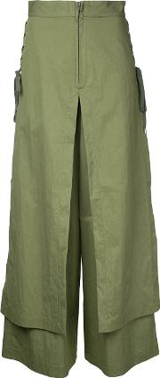 G.v.g.v. Lace Up Layered Wide Trousers Women Cottonnylon 36