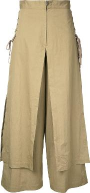 G.v.g.v. Lace Up Layered Wide Trousers Women Cottonnylon 36, Women's, Brown
