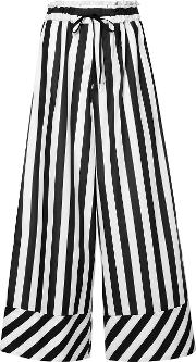 Striped Drawstring Waist Flared Trousers