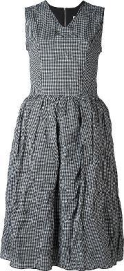 Flared Gingham Dress Women Cottonmetal 46, Women's, Black