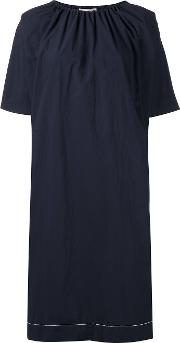 Gathered Neck Dress Women Cottonspandexelastane 42, Blue