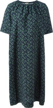 Gathered Neck Shift Dress Women Cotton 46, Green
