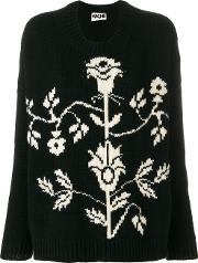 Hache Floral Crew Neck Sweater Women Cashmerewool 38, Black