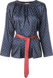 Hache Patterned Belted Blouse Women Polyester 38, Blue