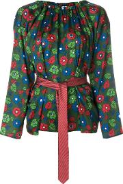 Hache Patterned Belted Blouse Women Polyester 42, Green