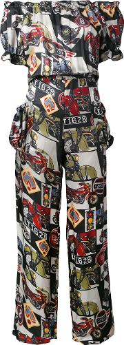 Motorcycle Print Jumpsuit Women Viscose 40