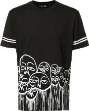 'faces' Motif T Shirt