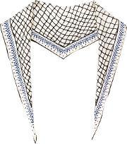 Mesh Print Scarf Men Silk One Size, White