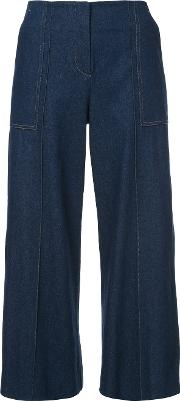 Pearl Detail Cropped Trousers