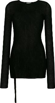 Helmut Lang Semi Sheer Longsleeved Blouse Women Polyamideviscose M, Black