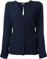 Helmut Lang V Neck Blouse Women Silkacetate Xs, Blue