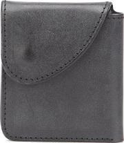 Button Flat Wallet Men Leather One Size, Black