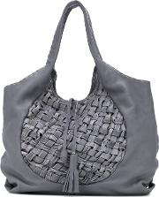 Large Woven Tote Women Leather One Size, Grey