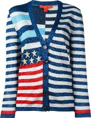 Striped Cardigan Women Viscosemetallic Fibre Xs, Women's, Blue
