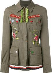 Embellished Military Jacket Women Cotton 40, Women's, Green