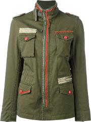 Embellished Military Jacket Women Cottonspandexelastane 46, Green