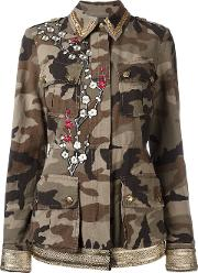 Embroidered Camouflage Print Jacket Women Cotton 42, Women's, Green