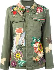 Floral Embroidered Jacket Women Cottonspandexelastane 42, Green