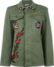 Floral Embroidery Military Jacket Women Cottonspandexelastane 44, Green