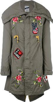 Floral Embroidery Parka Women Cotton 42