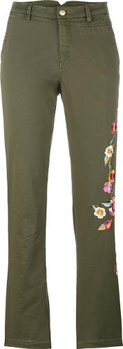 Floral Embroidery Trousers Women Cottonspandexelastane 46, Green