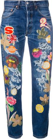 Floral Patch Cropped Jeans