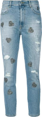 Heart Applique Cropped Jeans