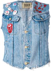 Patched Denim Gilet Women Cotton S, Women's, Blue