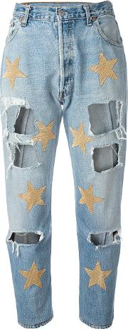 Ripped Star Patch Jeans Women Cotton S, Blue